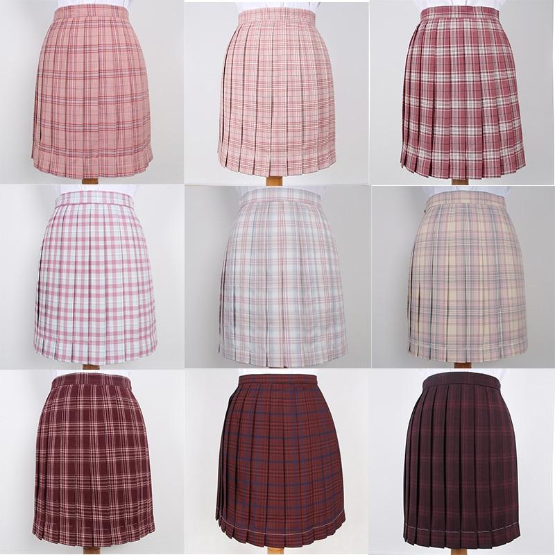 Japanese School Dresses For Girl Wine Red Roes Pink Plaid Pleated Skirt Women JK Uniform Skirt Student Anime Sailor Suit Skirt