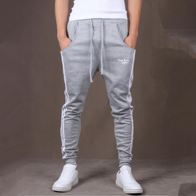 AliExpress Hot Selling Spring And Autumn Side Vertical Striped MEN'S Sports Pants Waist Belt Casual Harem Sweatpants K798