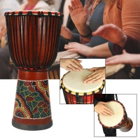 10 Inch African Hand Wood Drum Djembe Mahogany Body Goat Sheepskin Musical Instrument African Drum Wood Sculpture for Kids Toys