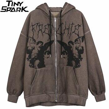 Men Hip Hop Streetwear Hooded Jacket Angel Dark Print Jacket Coat Harajuku Cotton Fleece Autumn Winter Jacket Outwear Zipper 1