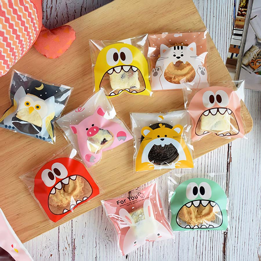 100pcs Big Teech Mouth Cute Monster Plastic Birthday Cookie Bag Wedding Candy Gift Packaging Bags OPP Self Adhesive Party Favors