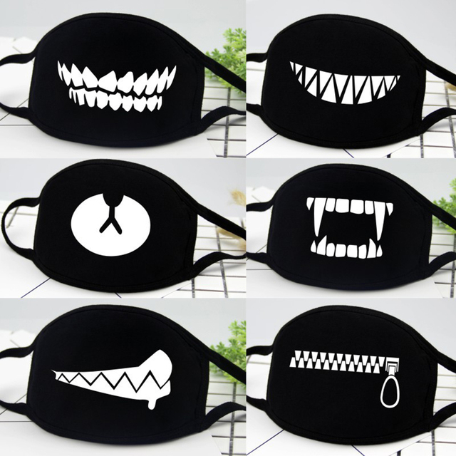 Halloween Party Funny Face Mask Anti Dust Mask Black Cartoon Bear For Women Men Grimace Decor Carnival Festive Masks Reusable 6