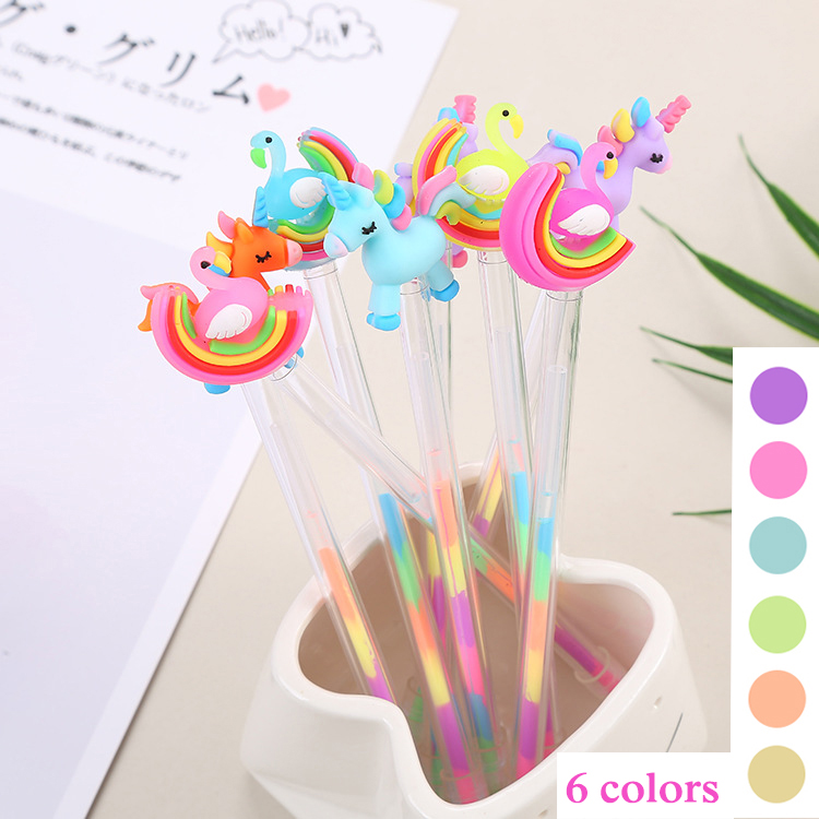 6 Colors Kawaii Unicorn Highlighter Marker Pen Cute Flamingo Pen Novelty Sketch Marker Pen For Kids School Supplies Stationery