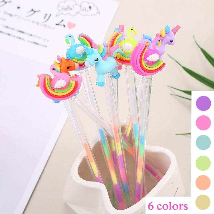 6 Colors Kawaii Unicorn Highlighter Marker Pen Cute Flamingo Pen Novelty Sketch Marker Pen For Kids School Supplies Stationery