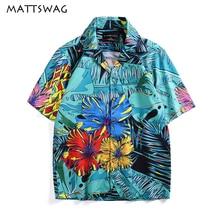 цена на MATTSWAG Flowers Leaf Print Men Shirt Summer Hawaiian Beach Men Casual Shirts Fashion Floral Hawaii Tropical Button Up Shirt Men