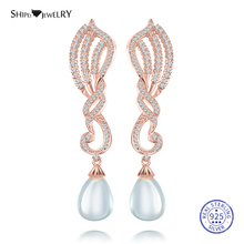Shipei 100% 925 Sterling Silver Fine Rose Gold Yellow Jewelry Water Drop Pearl Earrings for Women Anniversary Gift
