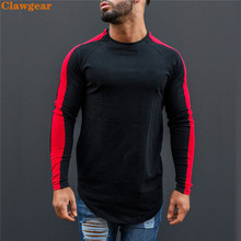 2019 New Clawgear  T-Shirt Men Spring Long Sleeve O-Neck T Shirt Brand Clothing Fashion Patchwork Cotton Tee Tops
