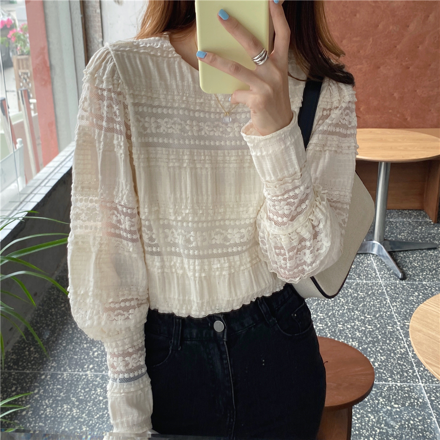 Hf9c5655869134189a53a51a82077ed49B - Spring / Autumn Korean O-Neck Long Sleeves Solid Lace Blouse