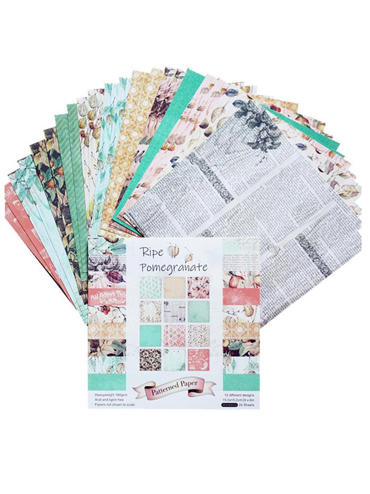 24PCS DIY Photo Album Scrapbook Hand Account Card Making Background Paper 6IN Single-sided Pattern Paper
