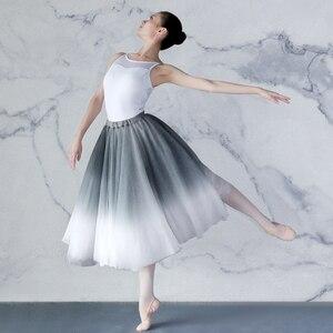 Image 3 - Kadın degrade şifon uzun elbise giyim yetişkin DanceChiffon elbise balerin dans eteği