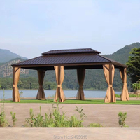 3.65x6m steel Hardtop Aluminum Permanent Gazebo with 2 Layers Sidewalls all weather for garden patio outdoor