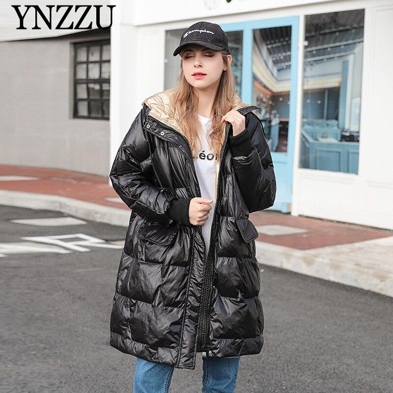 2019 Winter Women hooded   Down   jacket Oversized Long sleeve irregular Long   Down     coat   Warm Fashion patchwork Outwear YNZZU 9O039