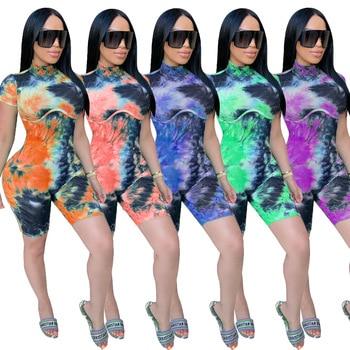 Tie Dye Ribbed Playsuit Summer Short Sleeve Women Turtleneck Fashion Rompers Sports Wear Workout Biker Shorts Playsuits Skinny