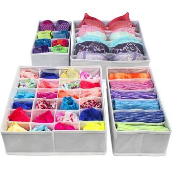 Storage Box for Underwear, Drawer Organizer, Wardrobe Drawers Divider for Socks, Bras and Ties, Folding Box, Fabric Box
