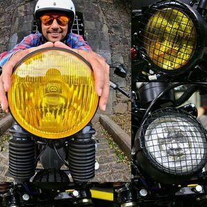 Универсальная светодиодная фара для мотоцикла 35 Вт, ретро фара для скутера 12 В постоянного тока, круглый прожектор, винтажная передняя фара