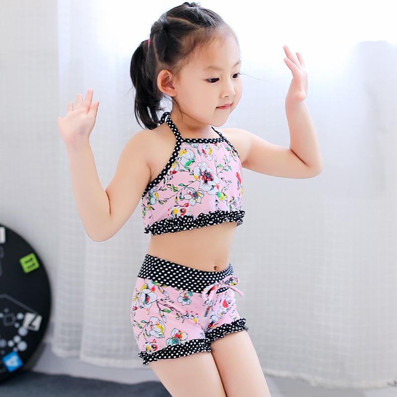 KID'S Swimwear Women's Cute Hipster Printed Children Split Type Bikini Swimwear Spa Resort Swimwear