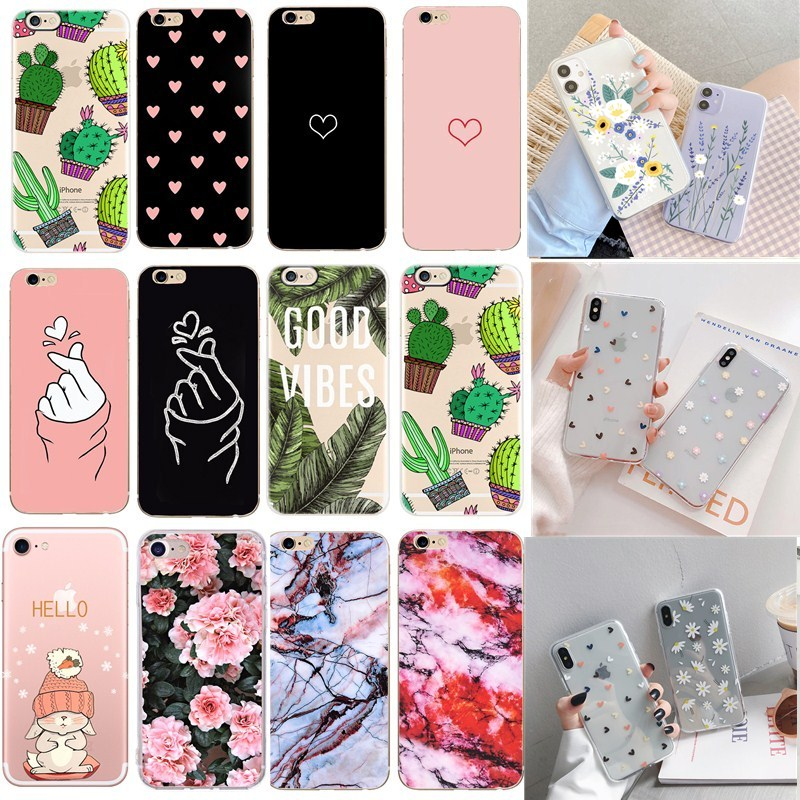 Cute Dog Flower For iphone 7 8 plus x xs max Case Silicone Soft Thin Phone Cover Bumper For ihone 6s 6 7 8plus x 5se 5s SE 2020