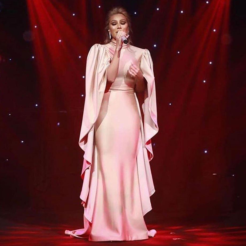 2020 Arabic Aso Ebi Muslim Sexy Cheap Evening Dresses High Neck Mermaid Prom Dresses Satin Formal Party Second Reception Gowns