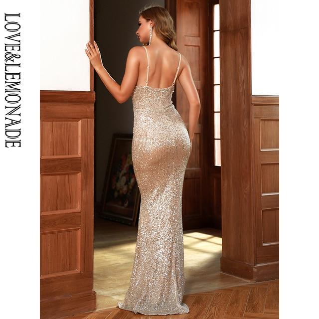 LOVE&LEMONADE Sexy V-Neck Low Back Silver Elastic Sequin Bodycon Bridesmaid Maxi Dress LM82768 6