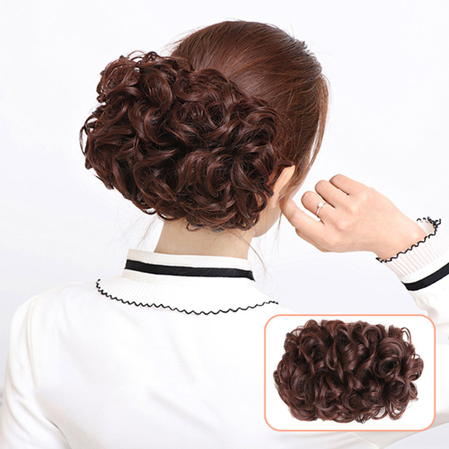 Hair Bun Chignon Bun Hair Extensions Wig Bags Stretch Flower Curly Hair Bag Hair Fluffy Flower Corn Balls  Adult