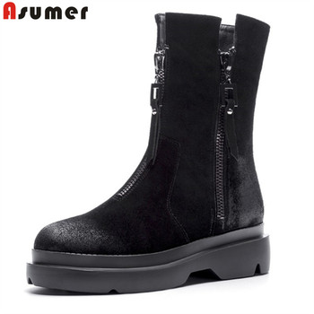 ASUMER 2020 new fashion flat casual shoes women ankle boots suede leather top quality zip autumn winter Motorcycle Boots
