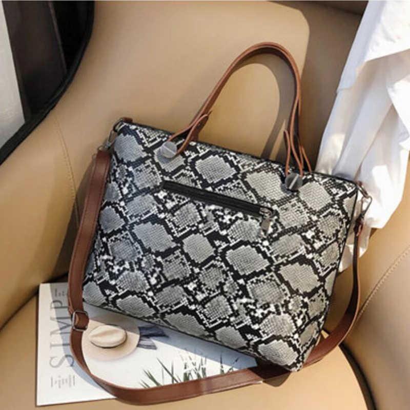Las mujeres PU serpentino Bolso grande de cuero bolso de hombro bolso de patrón de serpiente bolso de mujer diseñador grande bolsa
