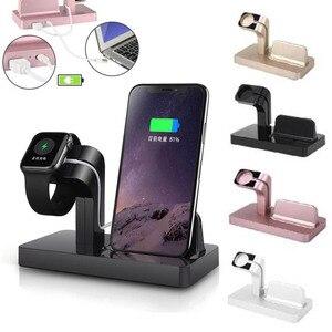 Image 1 - Apple i watch 용 무선 충전기 5 2 3 4 iphone 8 7 6 s plus xr x xs 11 pro max 충전기 독 2 in 1 무선 충전기 패드 스탠드