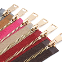 30/40/50/60/70/80cm 5# Colorful High Quality Open-end Auto Lock Gold Metal Zipper DIY Handcraft For Clothing Pocket Garment Shoe