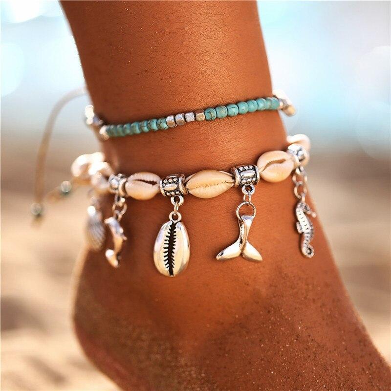 Bohemian Ocean Beach Starfish Turtle Shell Pendant Anklets Multi Layered Beads Ankle Bracelet Foot Bracelet Foot Jewel