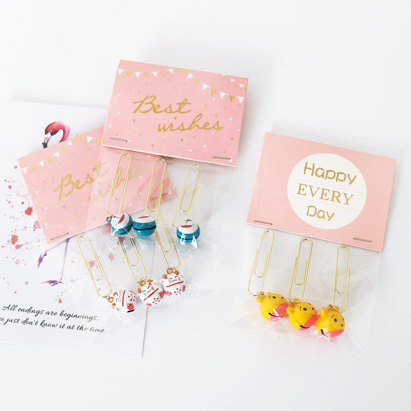 TUTU 3pcs/lot Creative Kawaii Big Bell Metal Paper Clip Bookmark Stationery Escolar Papelaria H0464