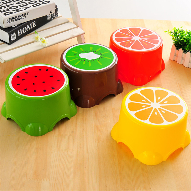 Lovely Cartoon Stools Fruit Pattern Living Room Non-slip Bath Bench Child Stool Plastic PP Changing Shoes Stool