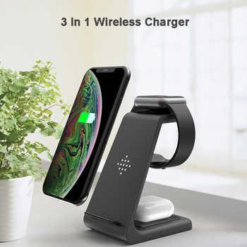QI 10W Schnelle Ladung 3 In 1 Drahtlose Ladegerät Für Iphone 11 Pro Ladegerät Dock Für Apple Uhr 5 4 Airpods Pro Drahtlose Lade Stehen