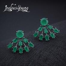 Популярные Классические серьги-гвоздики в форме капли воды с зеленым кубическим цирконием, женские серьги для вечеринок, модные ювелирные изделия AE286