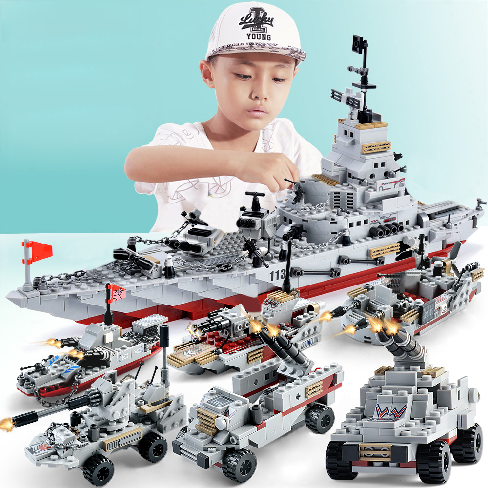 <font><b>1000pcs</b></font> <font><b>legoINGlys</b></font> warship with plastic model warships navy ship navy seals navy boat army bricks ship image