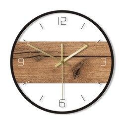 Eski ahşap desen doku akrilik duvar saati rustik ahşap kabin ülke duvar ev dekorasyonu sessiz hareketi baskılı saat duvar saati