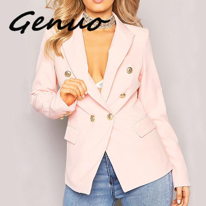 Genuo New Largerlof Blazer Women's Autumn Spring Double Breasted White Coats And Jackets For Simple 2019