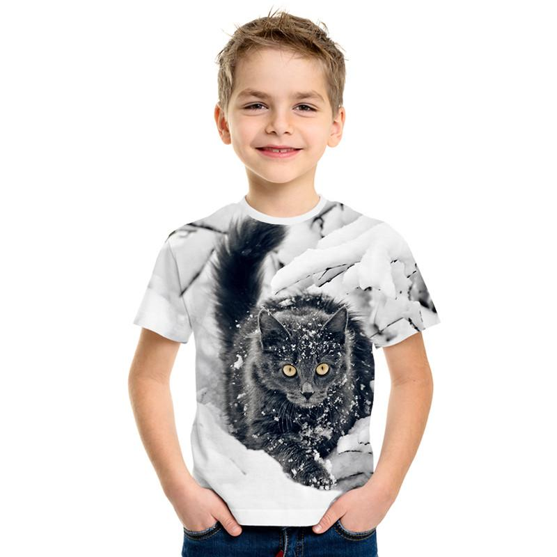 Cartoon Cat 3D Print Cute Fashion Children Short Sleeve T-shirt Cute 3D Print Panda Boy / Girl Tide Style T-shirt Top