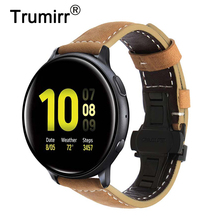 Italy Genuine Leather Watchband for Samsung Galaxy Watch Active / Active 2 40mm 44mm Quick Release Band Butterfly Clasp Strap