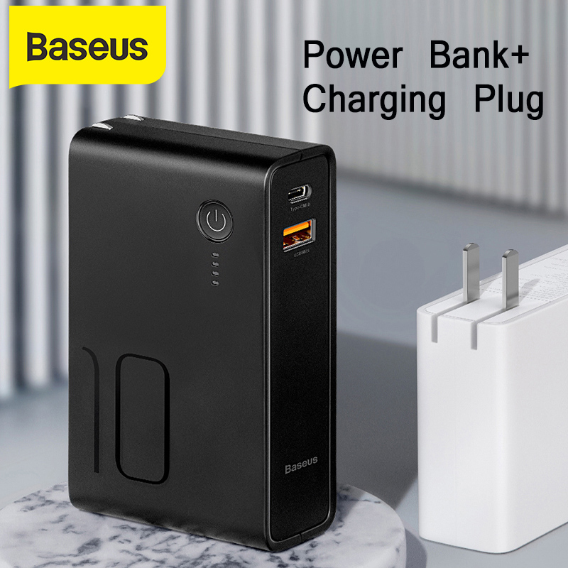 Baseus 10000mah Power Bank With Usb Plug 3A Type C And Usb Output Powerbank PD3.0+QC3.0 Fast Charger For iPhone Samsung Huawei|Power Bank| |  - title=