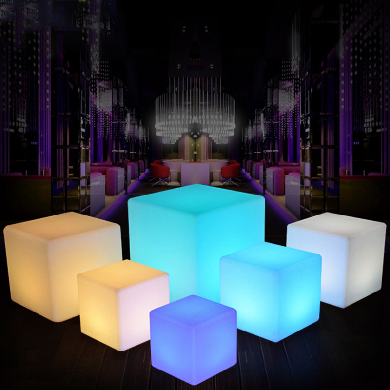 LED Colorful Changing Mood Cubes Night Glow Lamp Light Gizmo Romantic Lighting 7 Color With Remote Control Built-In Battery