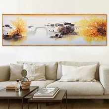Yuke Art Abstract Landscape Oil Painting Wall Canvas Chinese Style Trees and Bridge Pictures for Living Room
