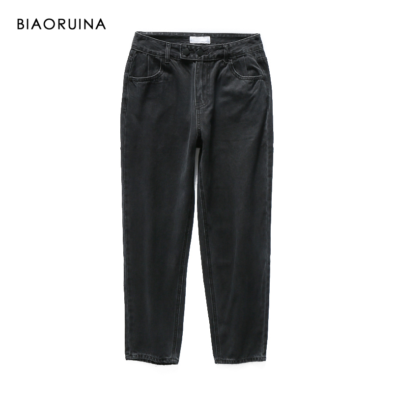 BIAORUINA Women's Washing Bleached High Waist Black Fashion Jeans Female All-match Straight Denim Jeans Streetwear Two Buttons