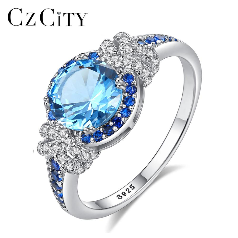 CZCITY Big Pure 925 Sterling Silver Sapphire Gemstone Rings for Women Fine Jewelry Luxury Engagement & Wedding accessories Gifts
