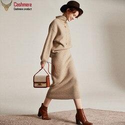 Maglione di cachemire Cashmere pannello esterno a due pezzi femminile di autunno e di inverno allentato di alta maglione collo femminile di alta-end cashmere maglione