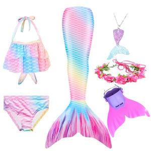 Image 3 - Swimmable Children Mermaid Tails With Monofin Fin Bikinis Set Kids Swimsuit Cosplay Costume for Girl Swimming Dresses Clothes