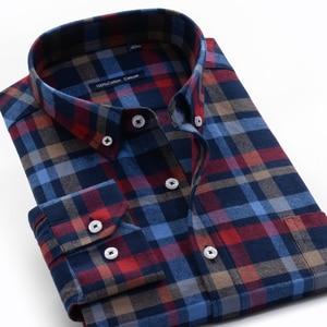 Image 2 - قميص منقوش رجالي غير رسمي قمصان فضفاضة طويلة الأكمام موضة الأعمال 100% قطن ملابس ماركة للرجال Plus Zise 6XL 7XL 8XL 9XL 10XL