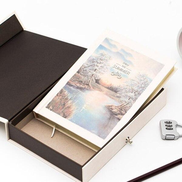 Livro de senha caderno com bloqueio, diário secreto para crianças adulto, criativo, grafia, caderno feminino, ilustração de página de cor