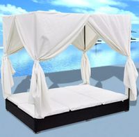 Hot Selling Outdoor Sofa Bed with Curtain Black Outdoor Seating Sofa Cama Braided Resin Waterproof Resistant Outdoor Furniture
