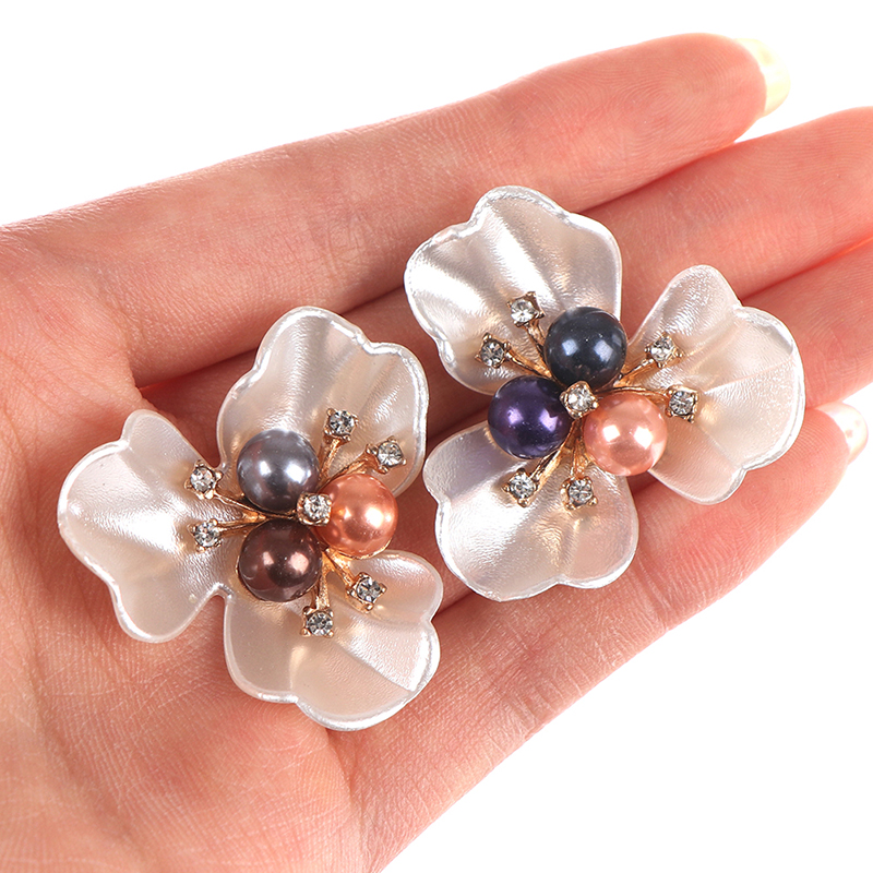 DIY Embroidered Sequins Beads Decorative Accessory Cloth Patch Clover Shoe Clips Shoe Decorations 2Pcs
