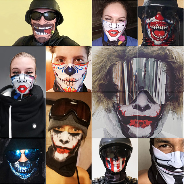 Motorcycle Face Mask Bicycle Skull Half Face Mask Ghost Scarf Multi Use Neck Summer 4